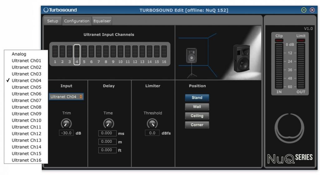 Рис. 8. Выбор канала Ultranet в программе настройки